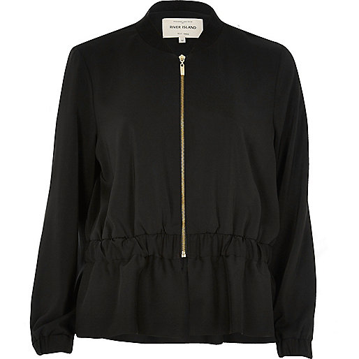 Black peplum bomber jacket