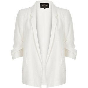 White ruched sleeve blazer