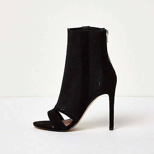 Black knit peep toe sock boots