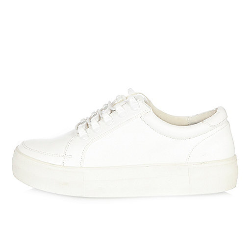 White leather look platform trainers