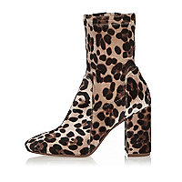 Brown leopard print block sock boots