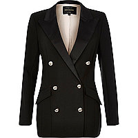 Black satin double-breasted blazer