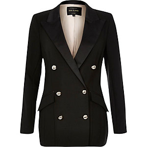 Black satin double-breasted blazer