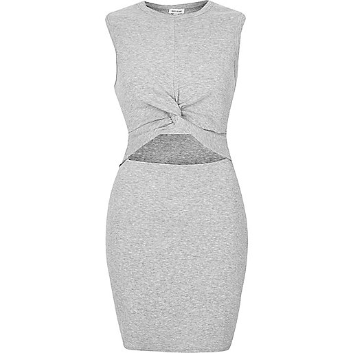Grey marl twist front tunic