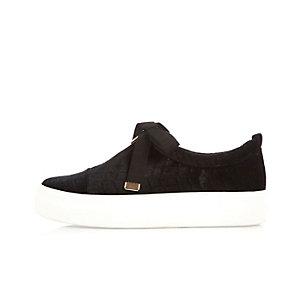 Black velvet zip front platform sneakers