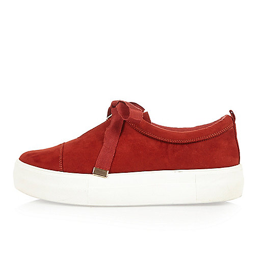 Red velvet zip front platform trainers