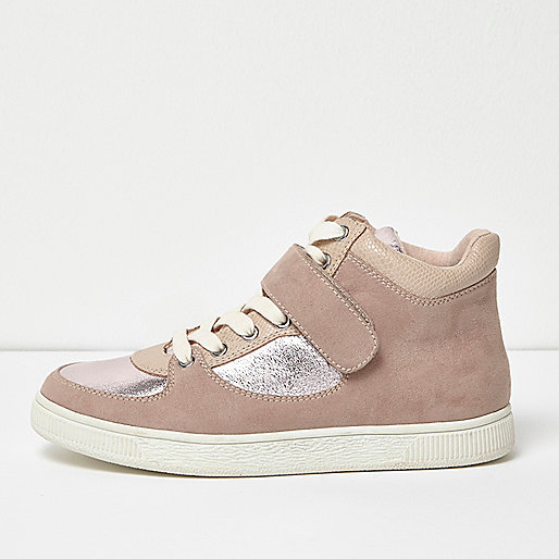 Pink textured panel hi tops