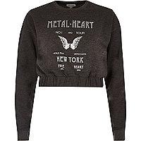 Grey 'metal heart' print cropped sweatshirt