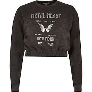Grey 'metal heart' print cropped sweatshirt