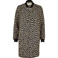 Leopard print longline bomber jacket