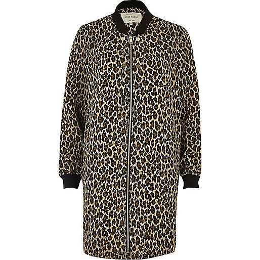 Blouson bombardier long imprimé léopard