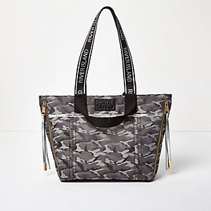 Grey camo print tote bag
