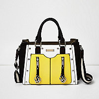 Yellow studded zip tote handbag