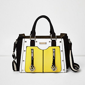 Yellow studded zip tote handbag