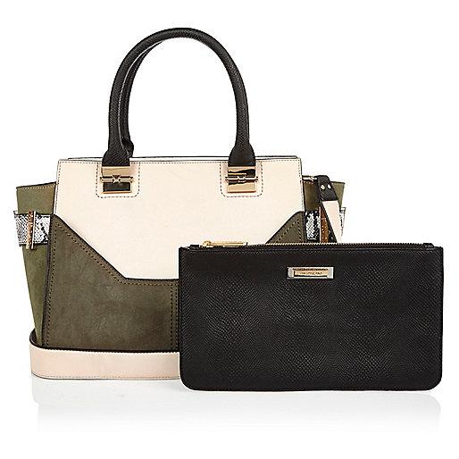 Khaki winged tote handbag with purse