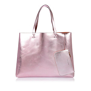 Pink shiny reversible beach bag