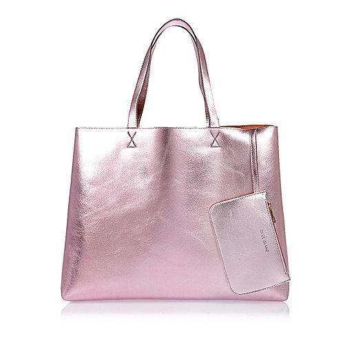 Metallic pink reversible beach shopper