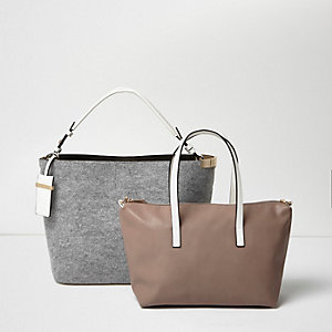 Grey bucket and slouch tote handbag set