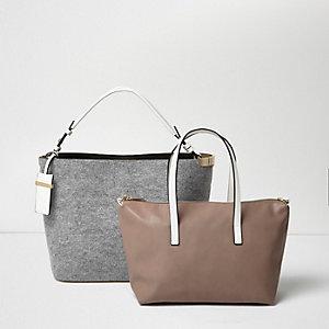 Grey bucket and slouch tote handbag set