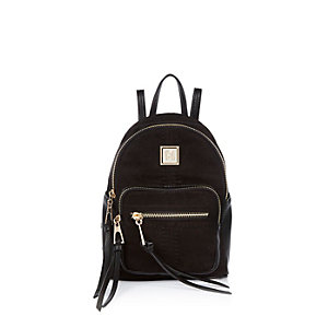 Black zipped mini backpack