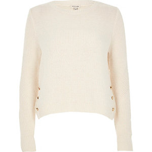 Cream knit button trim sweater
