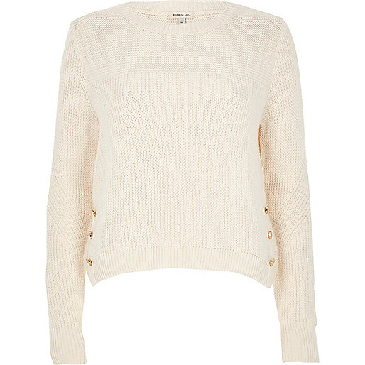 Cream knit button trim jumper