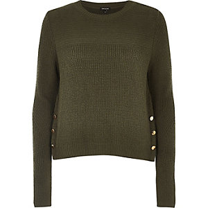 Khaki knit button trim sweater