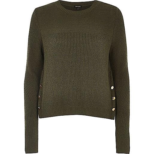 Khaki knit button trim sweater
