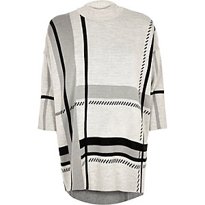 Light grey check oversized jumper