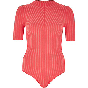 Bright pink ribbed high neck bodysuit