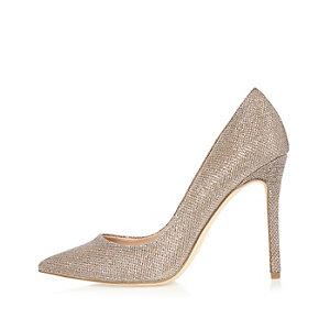 Gold glitter court heels