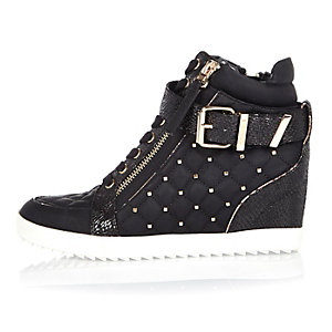 Black studded wedge hi tops