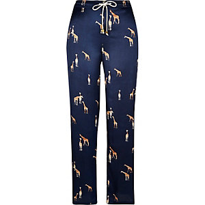 Blue giraffe print satin pyjama trousers