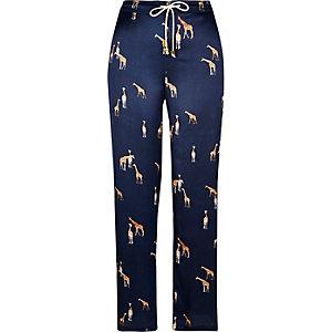 Pantalon de pyjama en satin imprimé girafes bleu