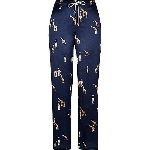 Blaue Satin-Pyjamahose mit Giraffenmotiv