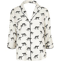 White cheetah print pajama shirt
