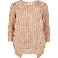 Light pink split back knit jumper