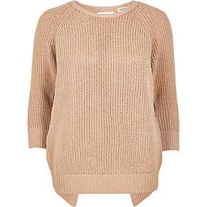 Light pink split back knit sweater