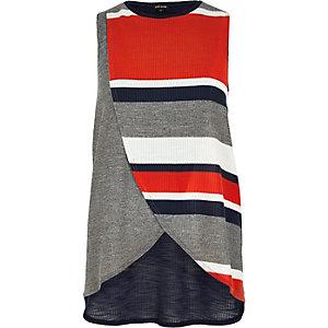 Grey stripe wrap front top