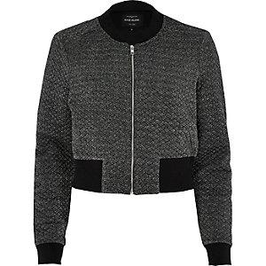 Dark grey metallic cropped bomber jacket