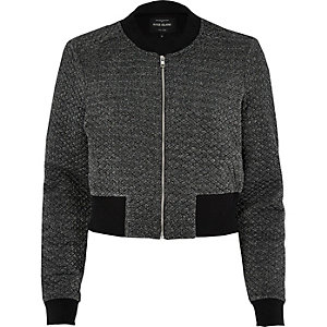 Dark grey metallic cropped bomber jacket