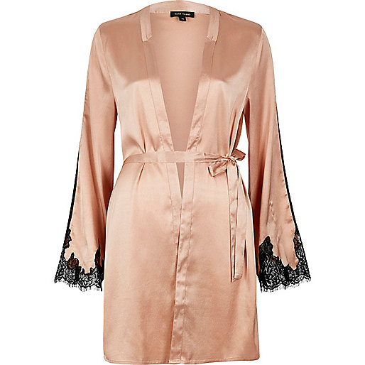 Pink silky lace trim robe