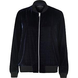 Navy velvet bomber jacket