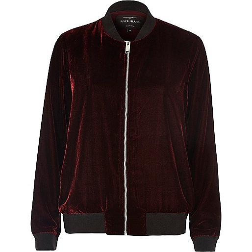 Dark red Velvet bomber jacket