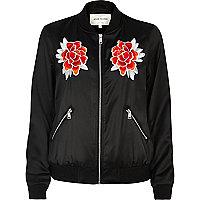 Black satin floral bomber jacket