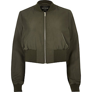 Khaki cropped bomber jacket
