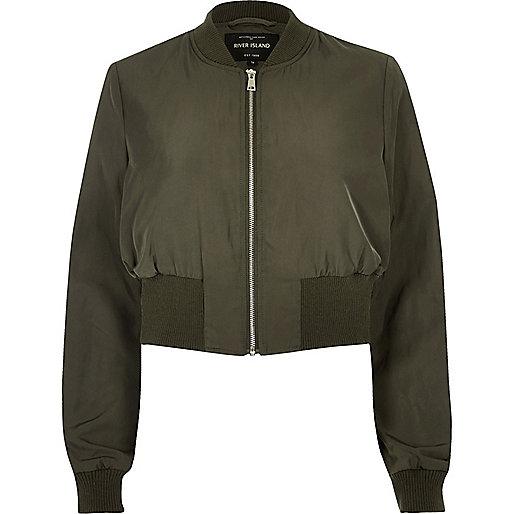 Khaki cropped bomber jacket