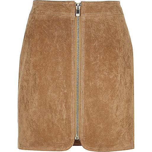 Tan suede zip through mini skirt