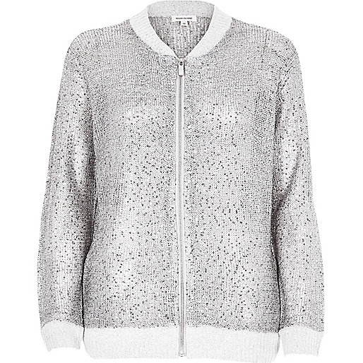 Silver knit bomber with sequins