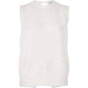 White open back sleeveless jumper